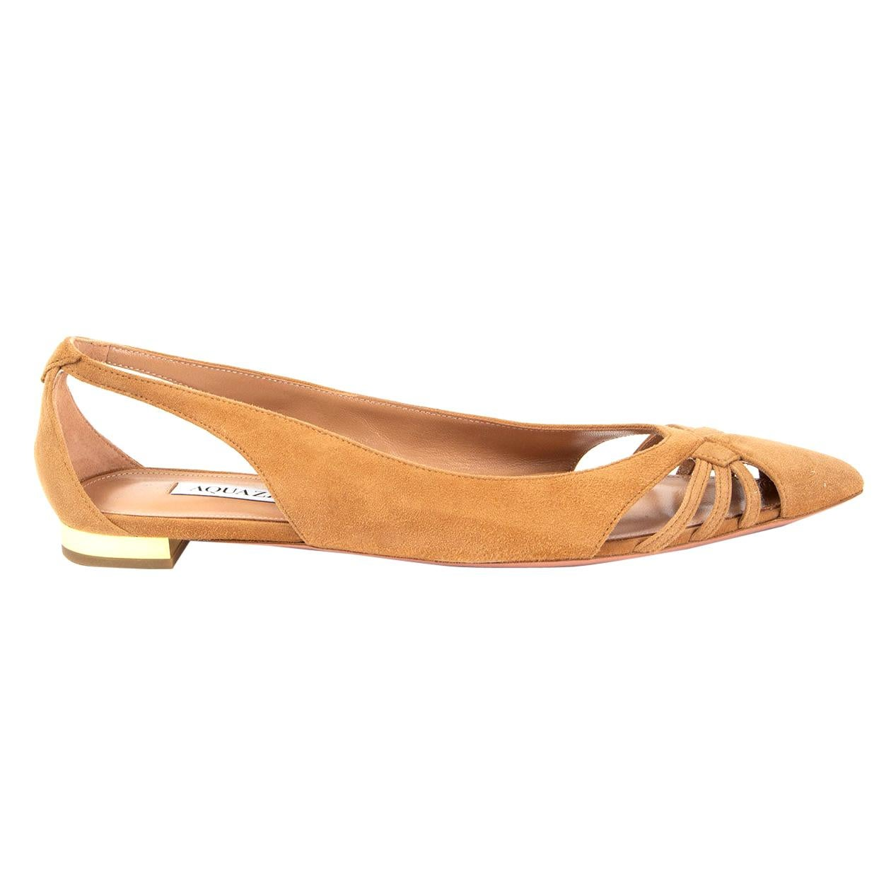 AQUAZZURA beige suede CECE Ballet Flats Shoes 38
