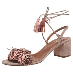 Aquazzura Beige Suede Wild Thing Fringe Ankle Wrap Sandals Size 39.5