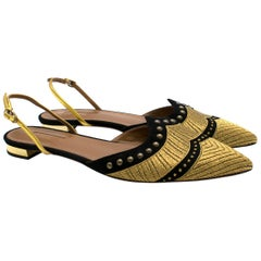 Aquazzura Black and Gold Embellished Sling Flats 41