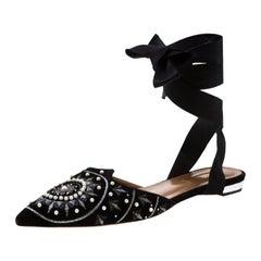 Aquazzura Black Embellished Velvet Stellar Ankle Wrap Flat Mules Size 39
