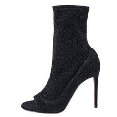 Aquazzura Black Glitter Lurex Fabric Eclair Ankle Booties Size 38.5