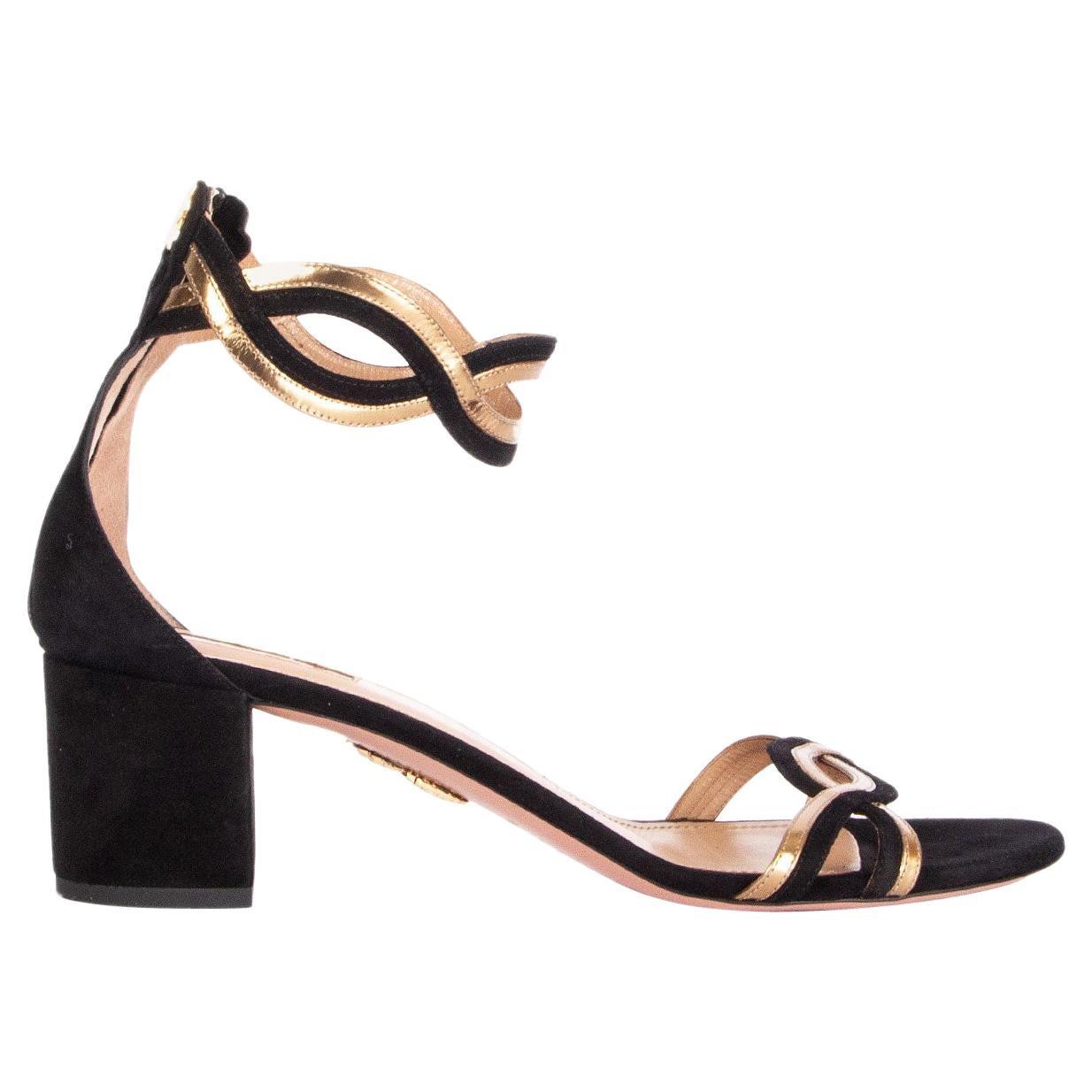 AQUAZZURA black & gold suede MOON RAY 50 Sandals Shoes 42