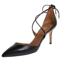 Aquazzura Black Leather Matilde Ankle Wrap Pumps Size 38