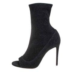 Aquazzura Black Lurex Fabric Ankle Boots Size 40