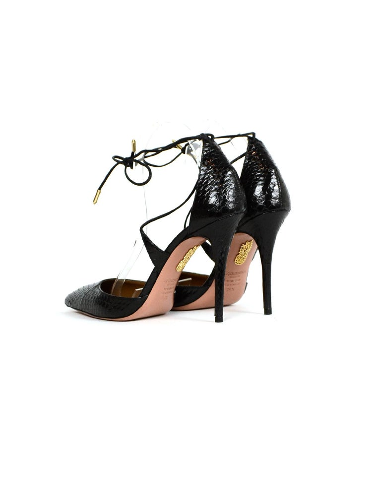 Aquazzura Black Python Lace Up Pumps sz 39.5 In Excellent Condition For Sale In New York, NY
