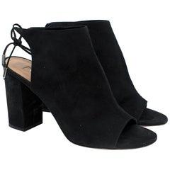 Aquazzura Black Suede Block Heel Sandals SIZE 38.5