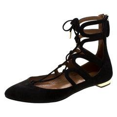 Aquazzura Black Suede Dancer Lace Up Ballet Flats Size 37.5