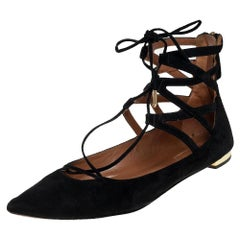 Aquazzura Black Suede Lace Up Flats Size 38