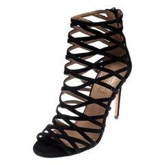 Aquazzura Black Suede Leather Knockout Cage Sandals Size 35.5