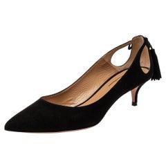 Aquazzura Black Suede Marilyn Pumps Size 37