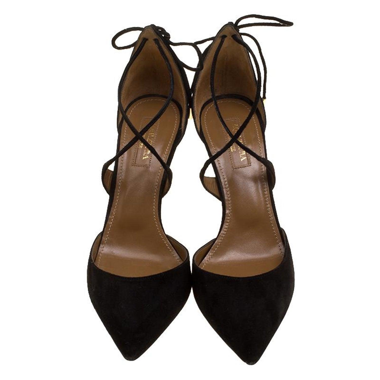 1baf006157c Aquazzura Black Suede Matilde Cross Straps Sandals Size 37 For Sale at  1stdibs