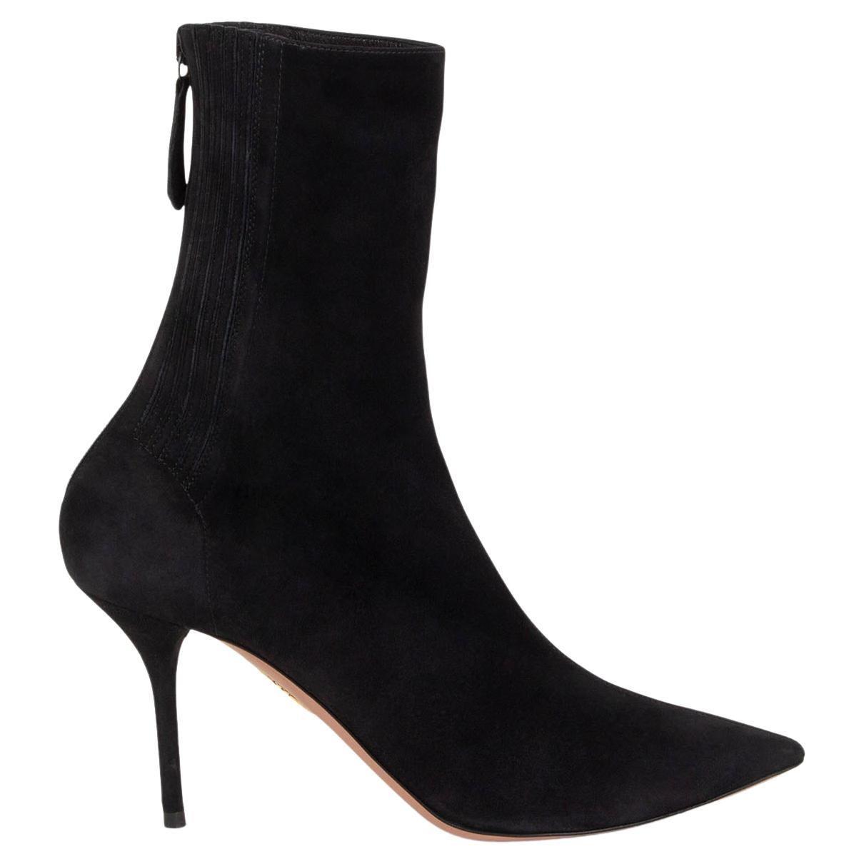 AQUAZZURA black suede SAINT HONORE 85 Ankle Boots Shoes 37.5