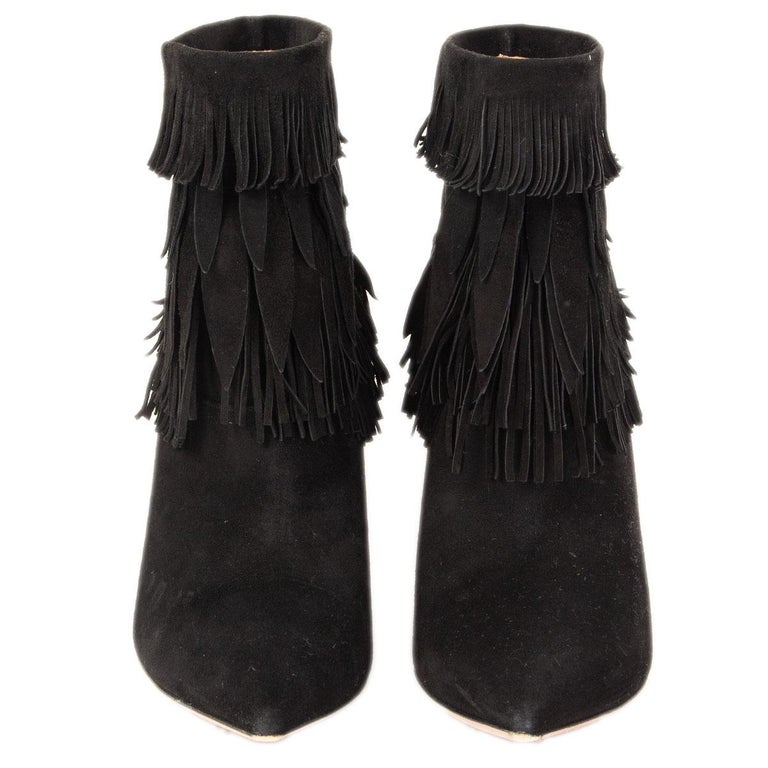 100% authentic Aquazzura Sasha fringed pointed-toe ankle-boots in black suede. Have been worn and are in excellent condition.   Measurements Imprinted Size37.5 Shoe Size37.5 Inside Sole24cm (9.4in) Width7cm (2.7in) Heel8.5cm (3.3in)  All our