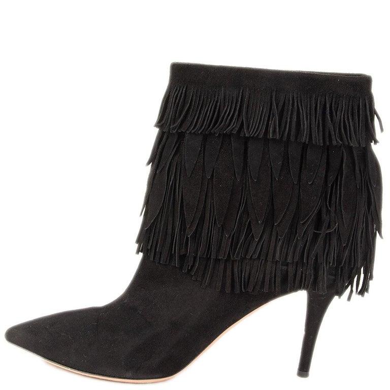 Black AQUAZZURA black suede SASHA Fringed Ankle Boots Shoes 37.5 For Sale
