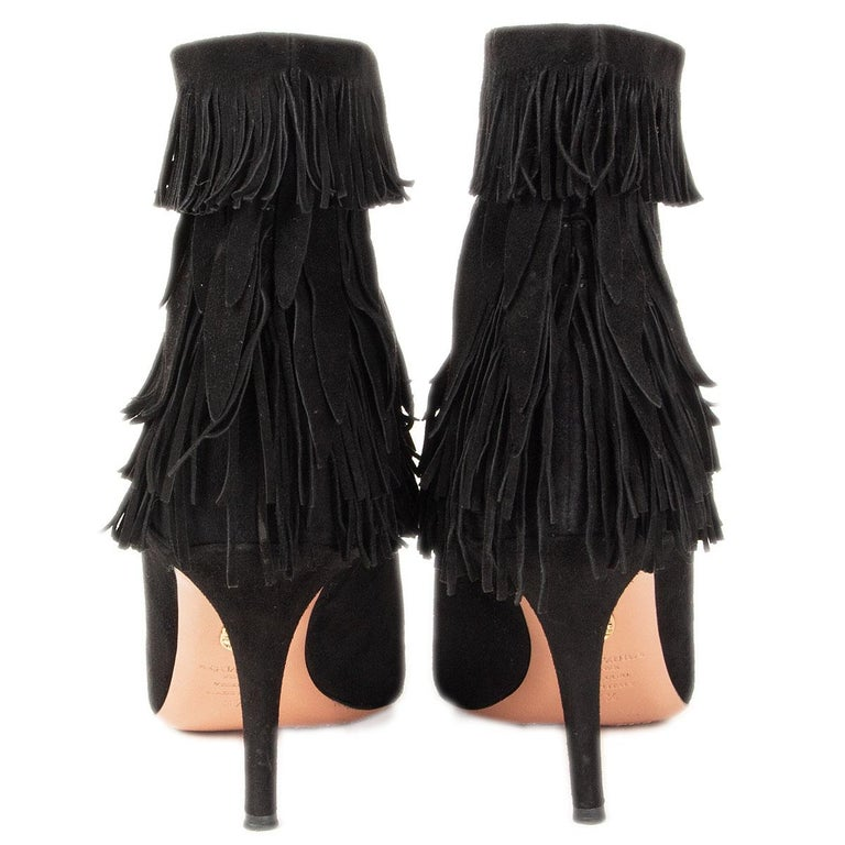AQUAZZURA black suede SASHA Fringed Ankle Boots Shoes 37.5 In Excellent Condition For Sale In Zürich, CH