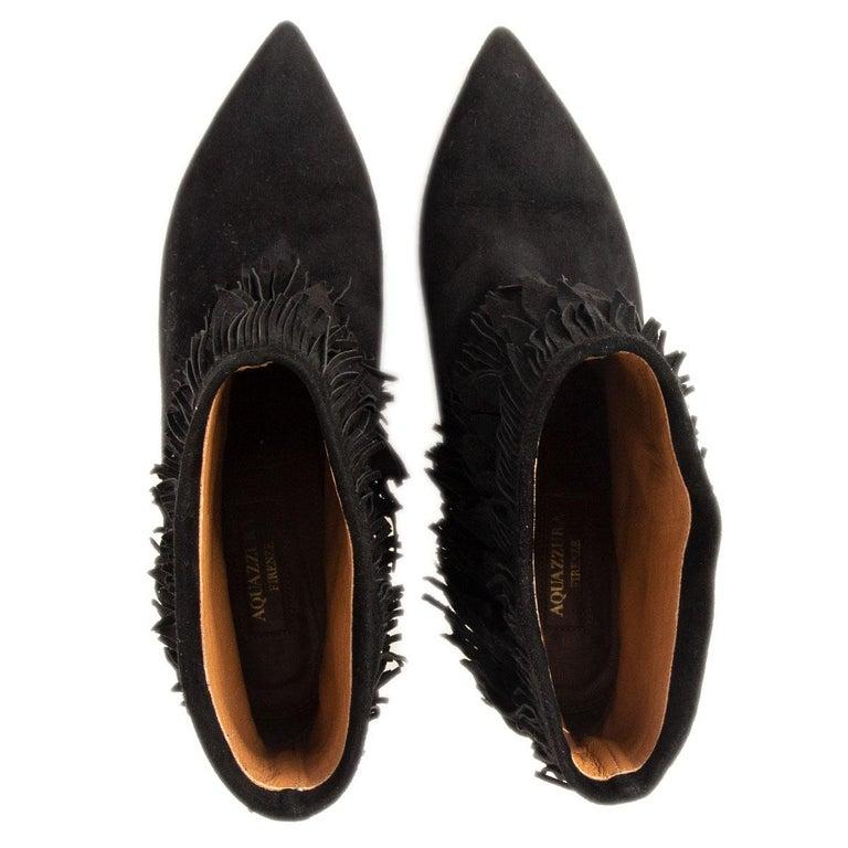 Women's AQUAZZURA black suede SASHA Fringed Ankle Boots Shoes 37.5 For Sale