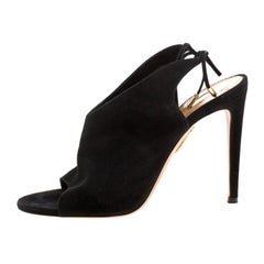 Aquazzura Black Suede Sexy Thing Open Toe Ankle Wrap Sandals Size 38