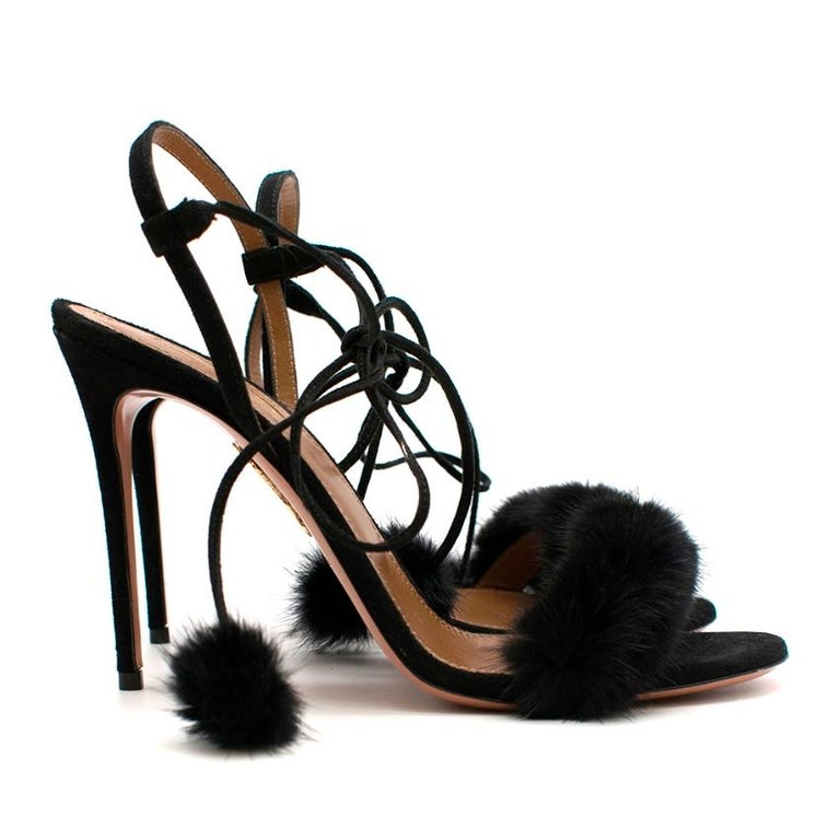 Aquazzura - Black Wild Russian Mink Fur Heeled Sandala  - self tie wrap around adjustable straps - pink fur pom pom details - stiletto heel - open toe - suede toe strap with mink fur embellishment - gold embellishment on the sole   Please note,