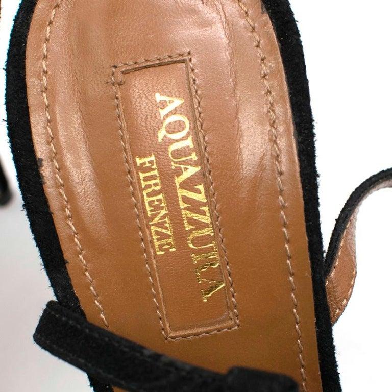 Aquazzura Black Wild Russian Mink Fur Heeled Sandals 39 For Sale 1