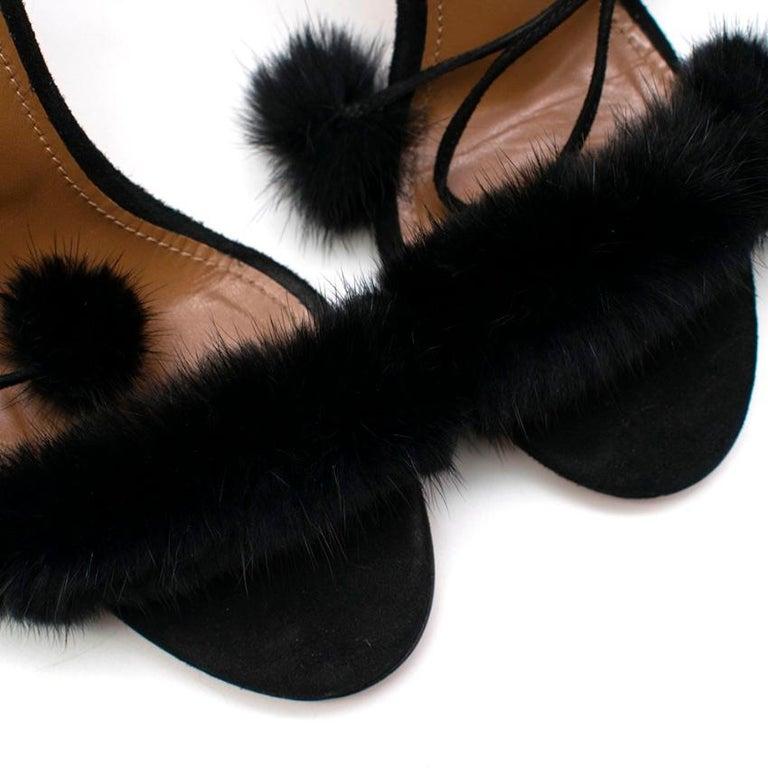 Aquazzura Black Wild Russian Mink Fur Heeled Sandals 39 For Sale 2