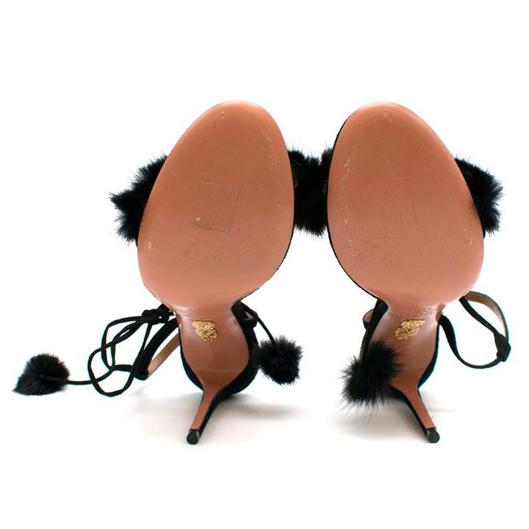Aquazzura Black Wild Russian Mink Fur Heeled Sandals 39 For Sale 3