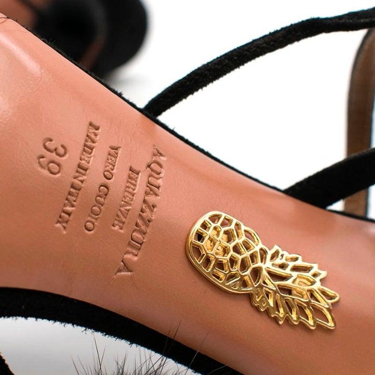 Aquazzura Black Wild Russian Mink Fur Heeled Sandals 39 For Sale 4