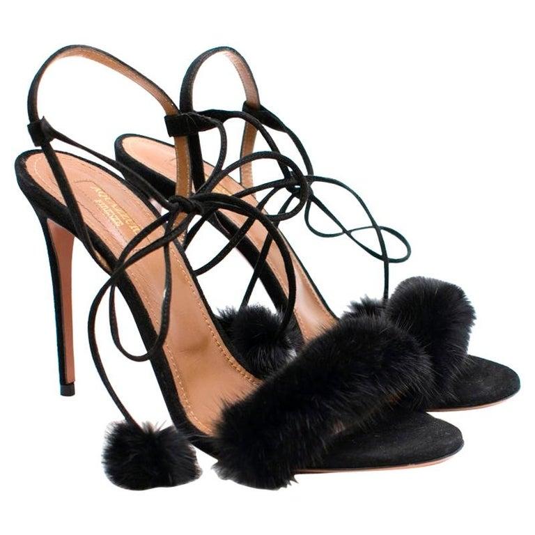 Aquazzura Black Wild Russian Mink Fur Heeled Sandals 39 For Sale