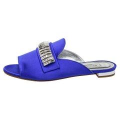 Aquazzura Blue Satin Crystal Embellished Winston Sandals Size 35