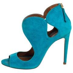Aquazzura Blue Suede Cut Out Elle Peep Toe Sandals Size 36