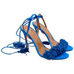 Aquazzura Blue Suede Wild Thing Sandals 39