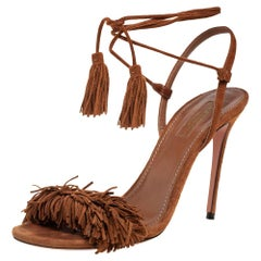 Aquazzura Brown Fringed Suede Wild Thing Ankle Wrap Sandals Size 38