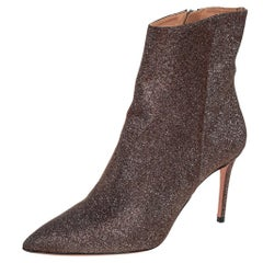 Aquazzura Brown Lurex Fabric Ankle Boots Size 37