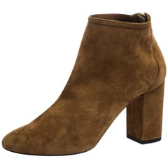 Aquazzura Brown Suede Downtown Ankle Boots Size 36