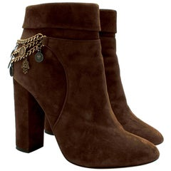 Aquazzura Brown Suede High Heel Ankle Boots with Medallion Chain 37