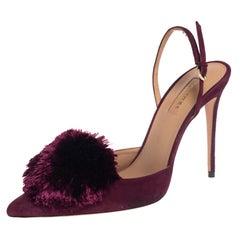 Aquazzura Burgundy Suede Powder Puff Pointed Toe Slingback Sandals Size 40