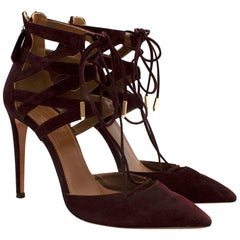 Aquazzura Burgundy Suede Strappy Lace-up Sandals 37.5