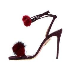 "Aquazzura Burgundy Suede ""Wild Russian 105"" High Heel Sandals w. Mink Fur sz 35."