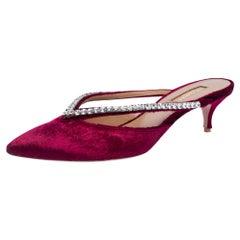 Aquazzura Burgundy Velvet Sabine Crystal Embellished Pointed Toe Mules Size 38.5