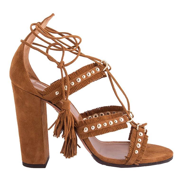 AQUAZZURA camel brown suede TULUM FRINGE Sandals Shoes 36