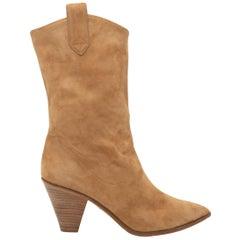 Aquazzura Camel Suede Pointed-Toe Western Boots