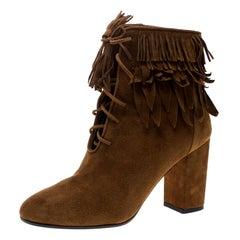 Aquazzura Cognac Brown Suede Woodstock Fringe Detail Ankle Boots Size 37