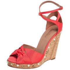 Aquazzura Coral Orange Fabric Harlow Embellished Wedge Sandals Size 40