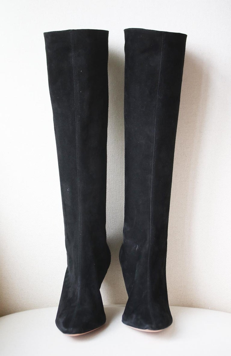 Aquazzura Curzon 75 Suede Boots In New Condition For Sale In London, GB