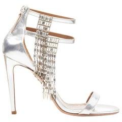 AQUAZZURA dangling crystal chandelier silver leather strappy heel sandals EU36.5
