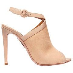 Aquazzura Eddie Leather-Trimmed Suede Sandals