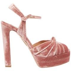 Aquazzura Evita Velvet Platform Sandals