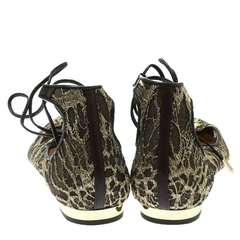 f48eca24b Black Aquazzura Gold/Brown Lace Christy Lace Up Pointed Toe Flats Size 37  For Sale