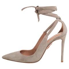 Aquazzura Grey Suede Milano Pointed Ankle Tie Pumps Size 37