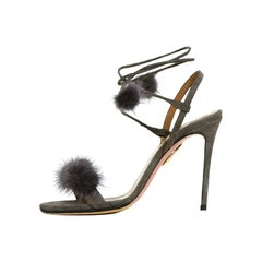 "Aquazzura Grey Suede ""Wild Russian 105"" High Heel Sandals w. Mink Fur sz 35.5"