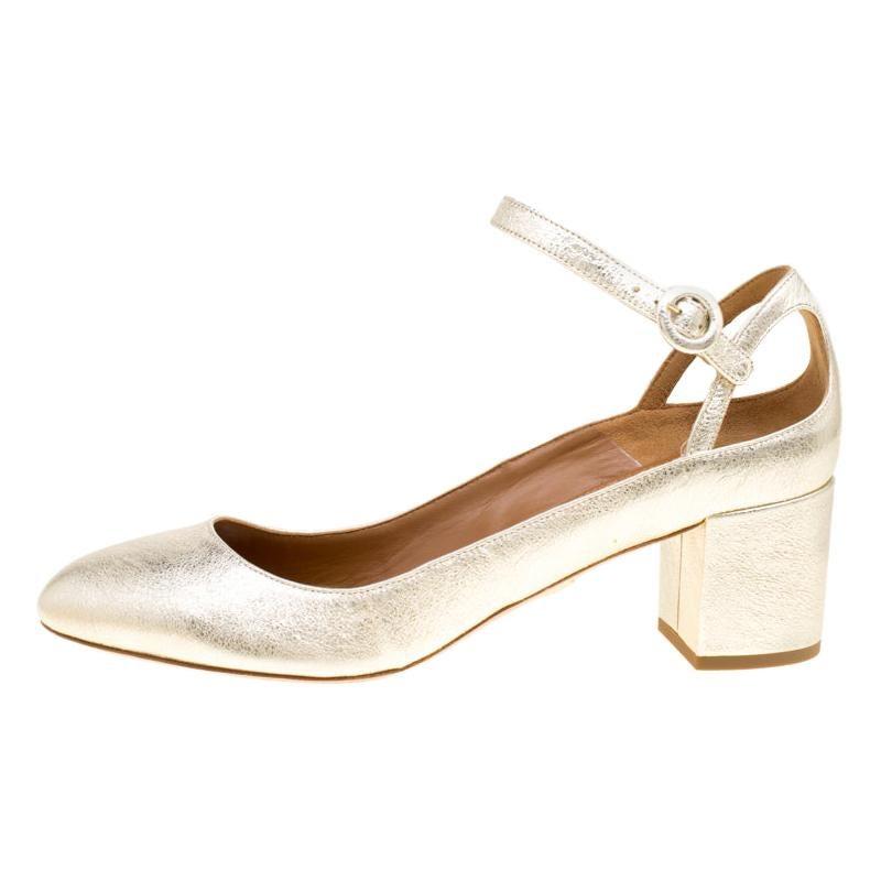 Aquazzura Metallic Gold Laminated Leather Block Heel Ankle Strap Pumps Size 40
